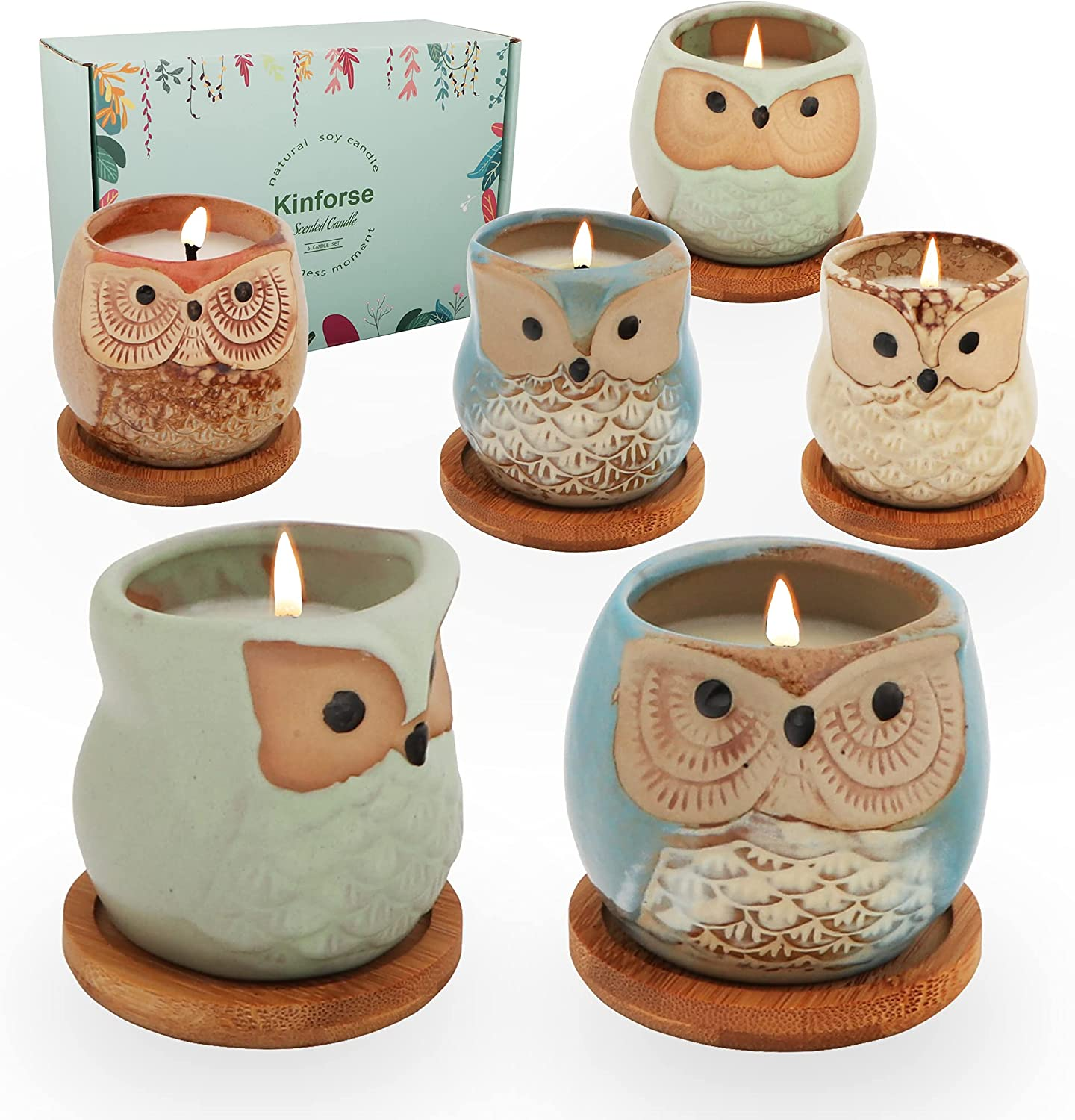 Kinforse Citronella Candles Outdoor Scented Candles Sets Gifts for Women, 6x3.5oz Novelty Owl Natural Soy Candles for Home Scented, Aromatherapy Candles Bulk for Garden, Porch, Outdoor Patio Decor