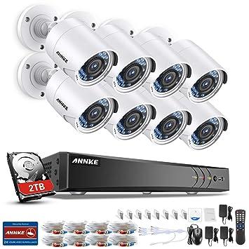 SANNCE Sistema de seguridad Kit de 8 CCTV Cámaras Metal de vigilancia (Onvif H.