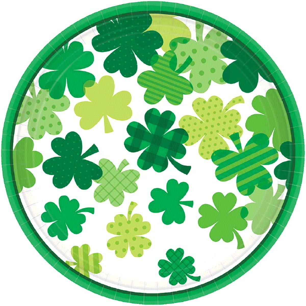 St. Patrick's Day Blooming Shamrocks Round Plate 7'', 12 Pk.