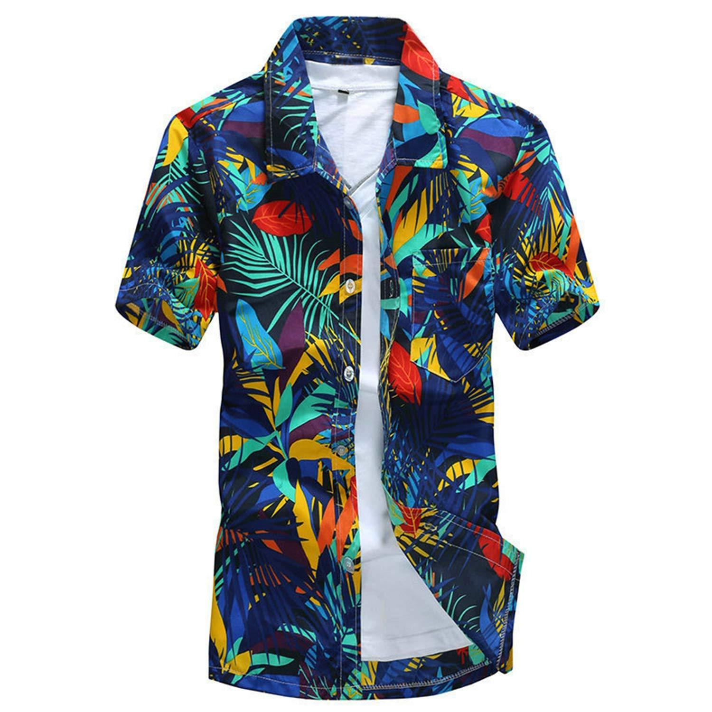 Summer Hawaiian Shirt Men Casual Short Sleeve Mens Beach Shirts Floral Printing Summer Top Blue