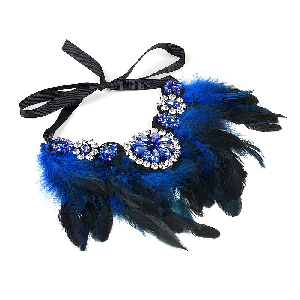 ZMZY Crystal Flower Feather Necklace Collar Choker Necklace for Women Gift XL010