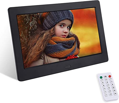 7 Inch Digital Picture Frame with 1920×1080 IPS High Resolution Display Screen,FamBrow Electronic Photo Frames with 1080P Video Music, Photo, Calendar, Slideshow, RC,Support USB SD Card Black