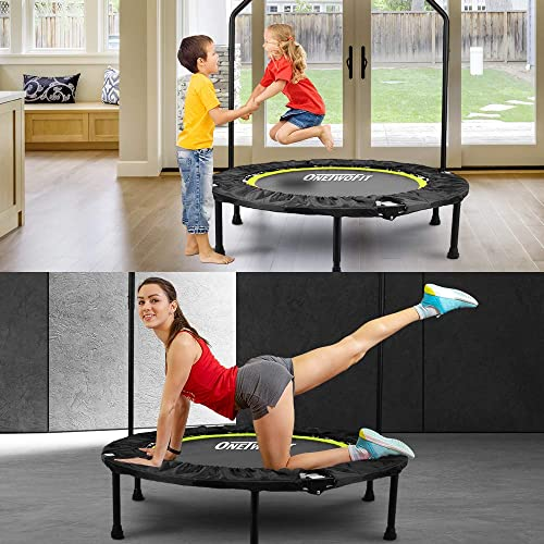 ONETWOFIT 40 Indoor Trampoline with Handrail,Foldable Fitness Trampoline for Adults,Rebounder Trampoline Exercise Trampoline for Indoor Garden Workout Cardio