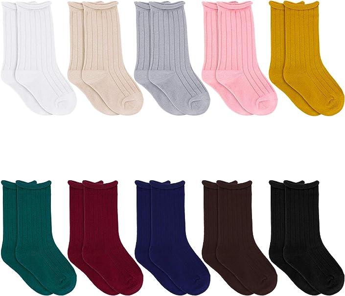 Jastore 5 Pairs//3 Pairs Unisex Baby Girl Boy Lace Stocking Knit Knee High Cotton Socks