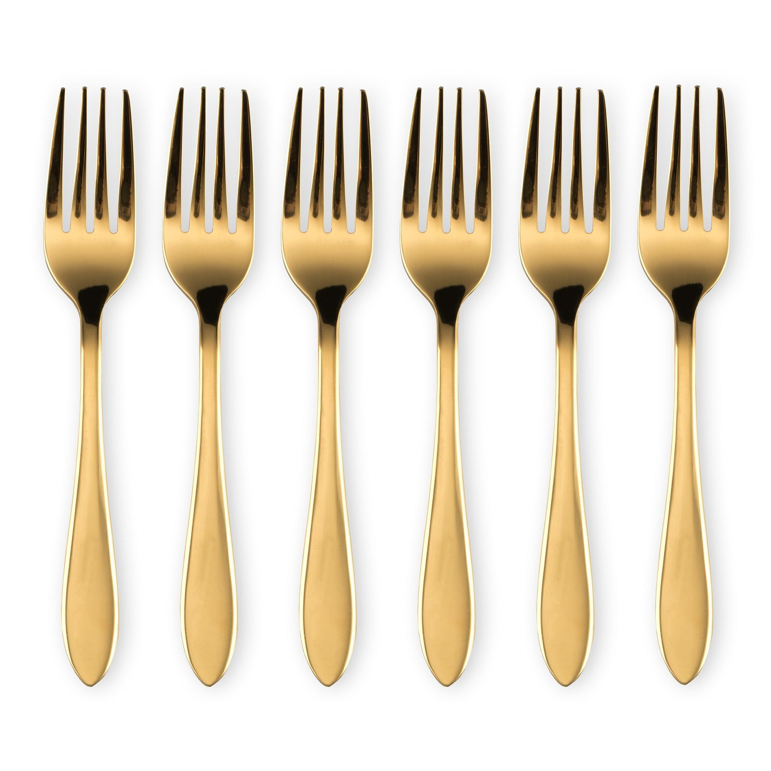 HOMQUEN Gold Fruit Forks, 6-Pieces Stainless Steel Three Prong Forks Bistro Cocktail Forks Tasting Appetizer Forks Set Mini Cake Forks (5.58 inch) BERGLAND T108WSG-TF-6P