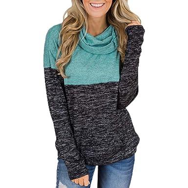 a5b34db65ab Femme manches longues à col roulé en Tunique décontracté Colorblock Sweat  shirt Blouse Pull col châle