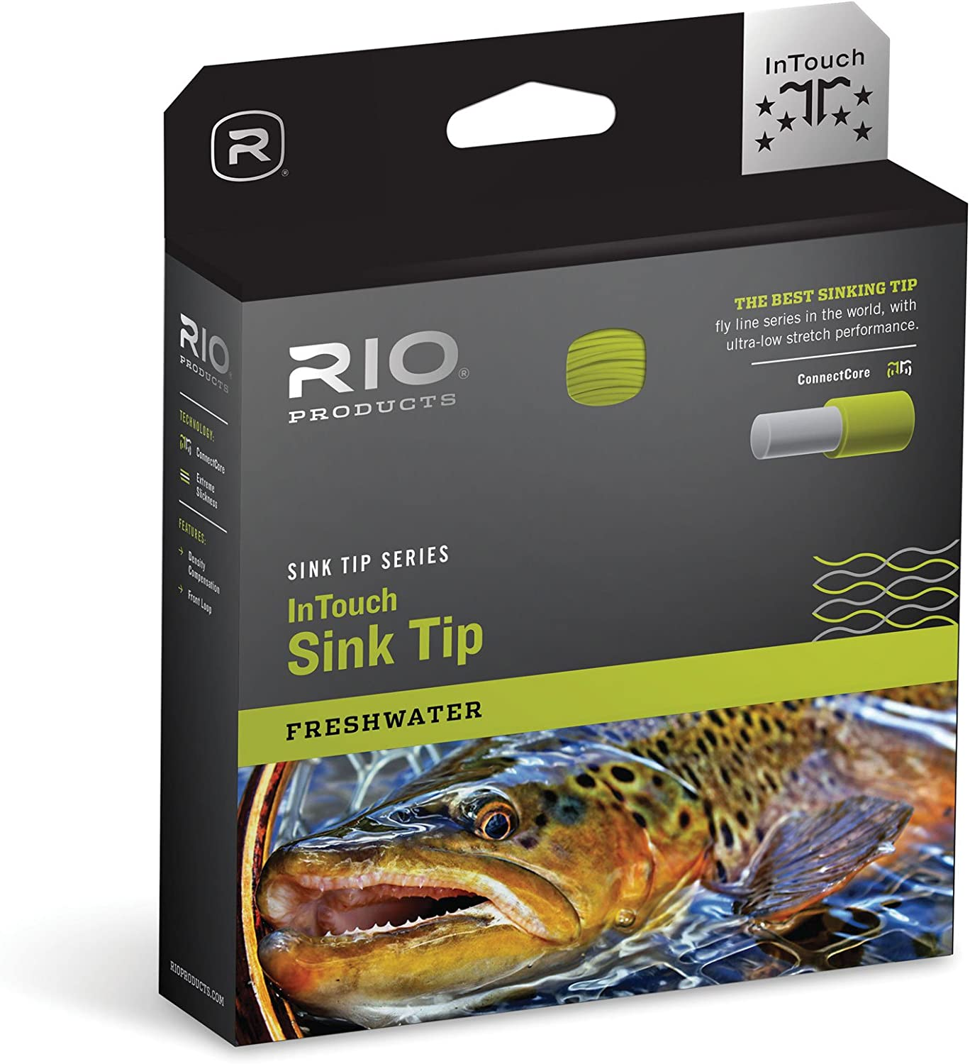 RIO Products Fly Line Intouch Sinktip Wf6F/S6 15' Type 6, Black/Yellow