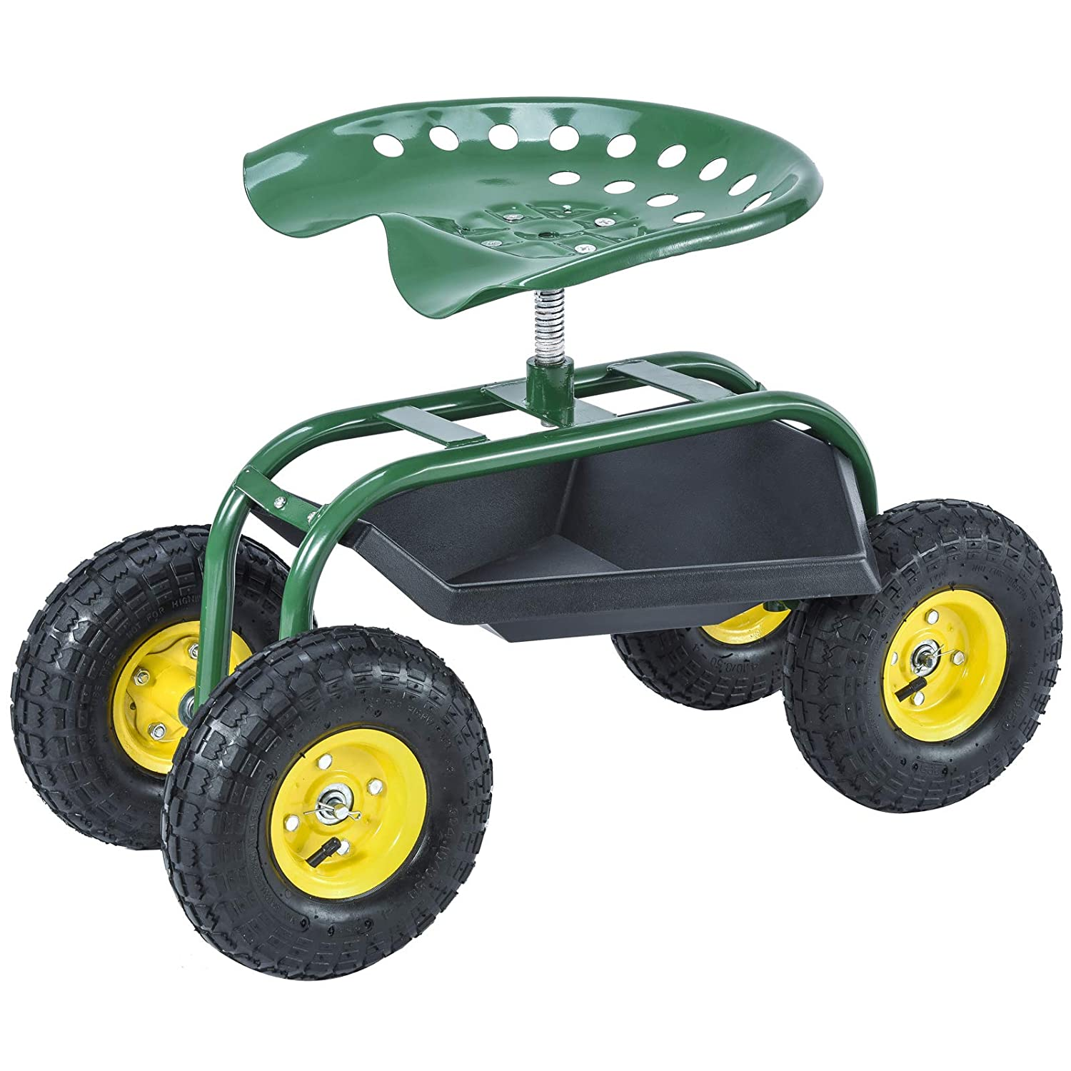 SUNCOO Garden Rolling Seat Scooter Tray Wagon for Gardening, Weeding and Lawn Care, Heavy-Duty with 10 Wheel Green