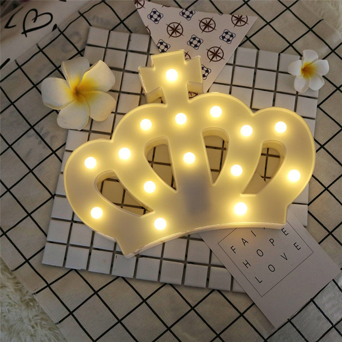 QiaoFei 3D Crown Marquee Sign Light,LED Queen Princess Kings Shaped Sign-Lighted,Wall Decor for Chistmas,Birthday party,Kids Room, Living Room, Wedding Party Decor(White) by QiaoFei (Image #7)