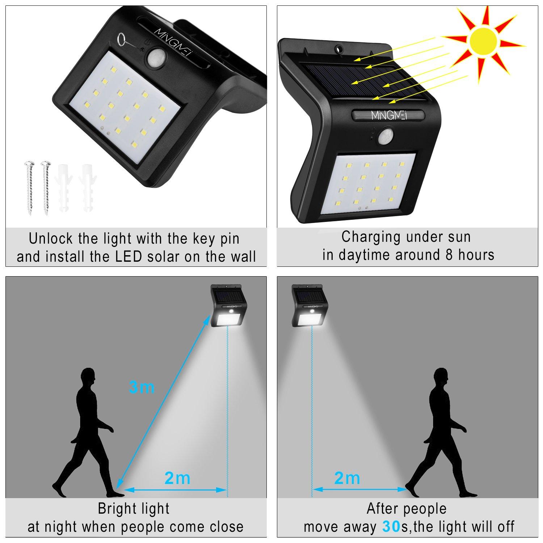 Solarleuchte mit Bewegungsmelder, Tegrace Solarleuchten Garten LED Lampe, 16 Helle LED Solarlampe Außenleuchten Sicherheit für Garten, Einfahrt (2 Stück)