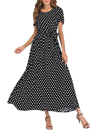 b717182b3ea Romacci Women Polka Dot Long Dress Short Sleeves High Waist Tie A-Line  Vintage Maxi