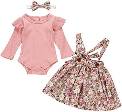 Birthday Romper Ruffle Jumpsuit Pants Outfit Clothes Newborn Baby Girl Headband