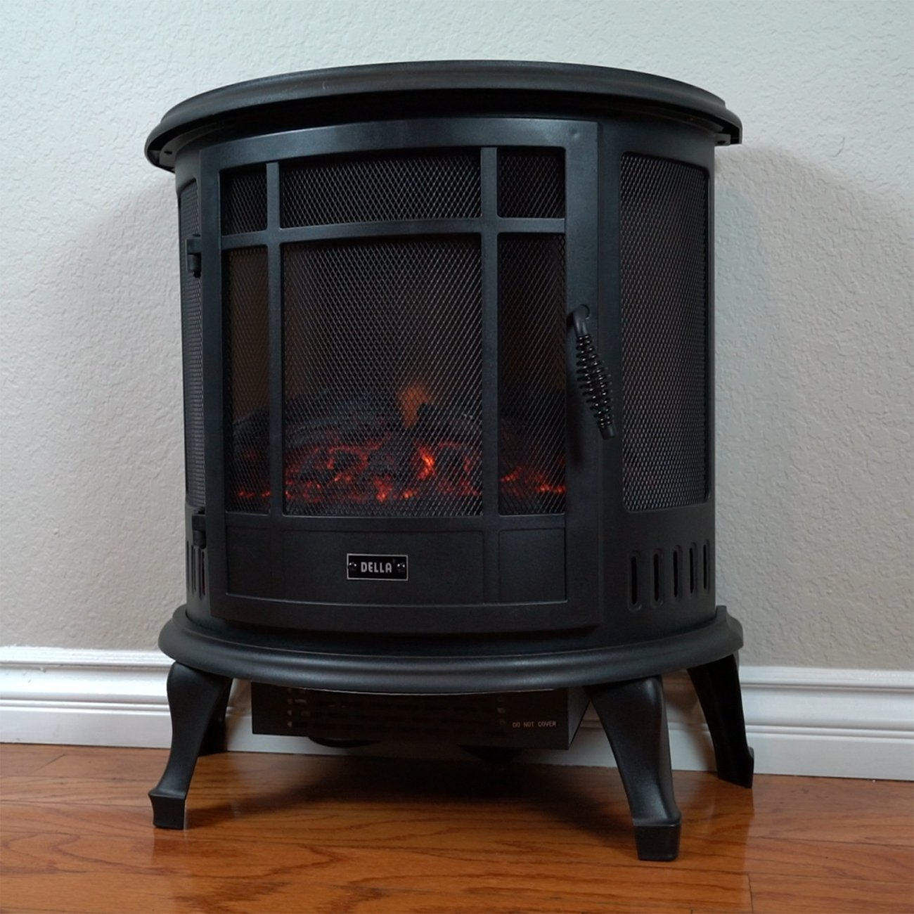 Della 1400W Electric Fireplace Portable Stove Space Heater Realistic Flame, Black