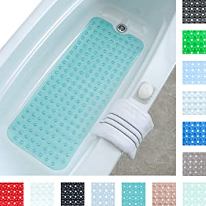 """SlipX Solutions Aqua Extra Long Bath Mat Adds Non-Slip Traction to Tubs & Showers - 30% Longer Than Standard Mats! (200 Suction Cups, 39"""" Long Bathtub Mat)"""