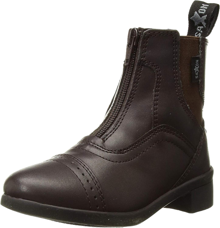 Saxon Syntovia Childrens Horse Riding Zip Paddock Boots Black