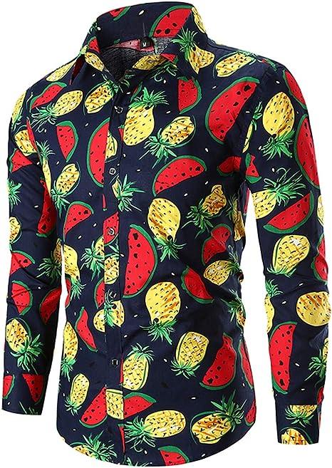 EverNight Camisa de Hombre Moda Casual Clásico Sandía Impresión de Piña Manga Larga Camisa Joker Simple Camisa,Black,L: Amazon.es: Hogar