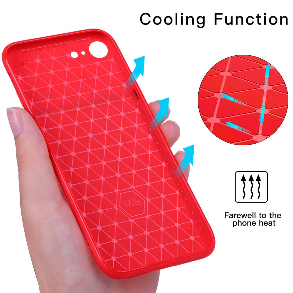 iPhone 8 Case, iPhone 7 Case, JASBON Soft TPU Brushed Carbon Fiber Phone Case Ultra Thin Breathable Cover Shockproof Protective Case for Apple iPhone 8/7-Red