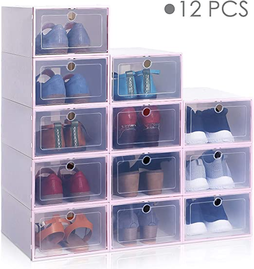 Thick Plastic Stackable Shoe Boxes Shoes Storage Organizer Box Container Boxes
