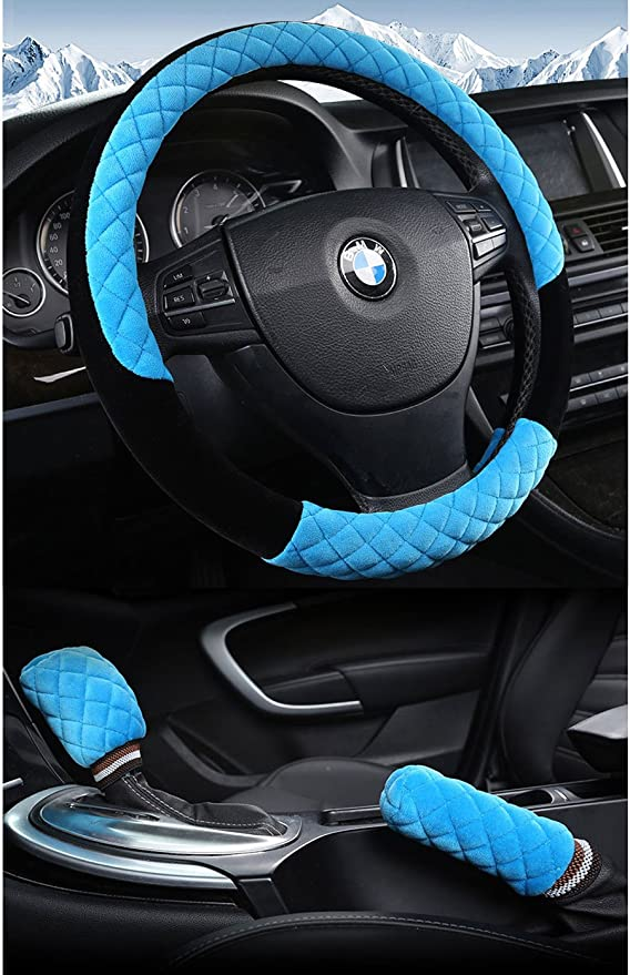 zzxswc 15inch Leather Steering Wheel Cover Rhinestone Soft Plush Steering Wheel Cover Women /& Girls Black-White