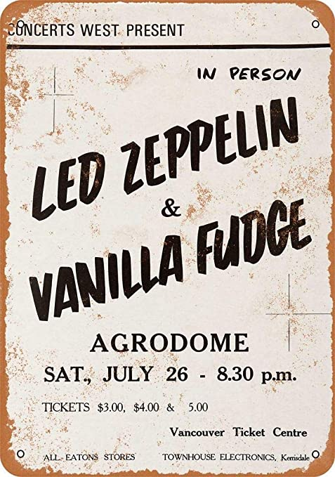 Led Zeppelin & Vanilla Fudge Póster De Pared Metal Retro ...