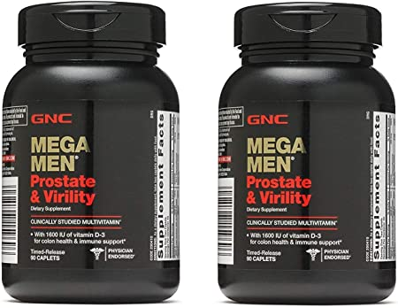 GNC Mega Men Prostate and Virility, 90 Caplets, Supports Sexual Health, 2 Pac