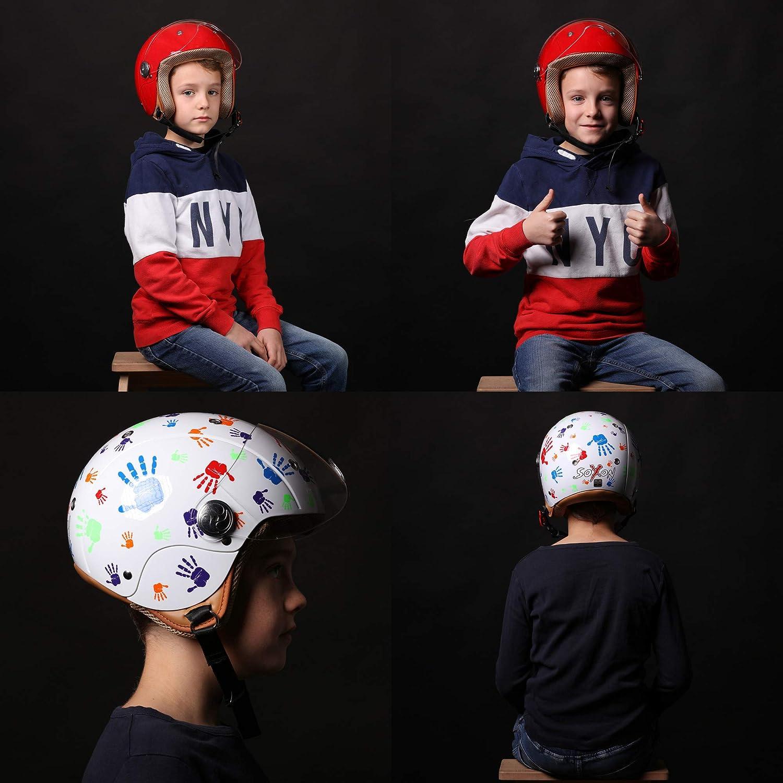 SOXON SK-55 Kids Neon /· Mofa Helmet Cruiser Urbano Vintage Kids Casco Jet Bambino Urban Retro Pilot Chopper Vespa Biker Scooter Moto Bobber Motard /· ECE certificato /· compresi visiera /· compresi Sacchetto portacasco /· Gia
