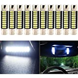 "EverBright Pack of 10 29MM 1.14"" Super White 4014 9-SMD LED Mirror Fuse Sun Visor 6641 6612F 12V Festoon Dome Light LED Bulbs"