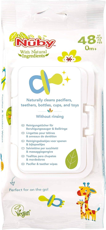 Nuby - Toallitas de limpieza Nuby para chupetes y juguetes, 1 pack de 48 piezas: Amazon.es: Bebé