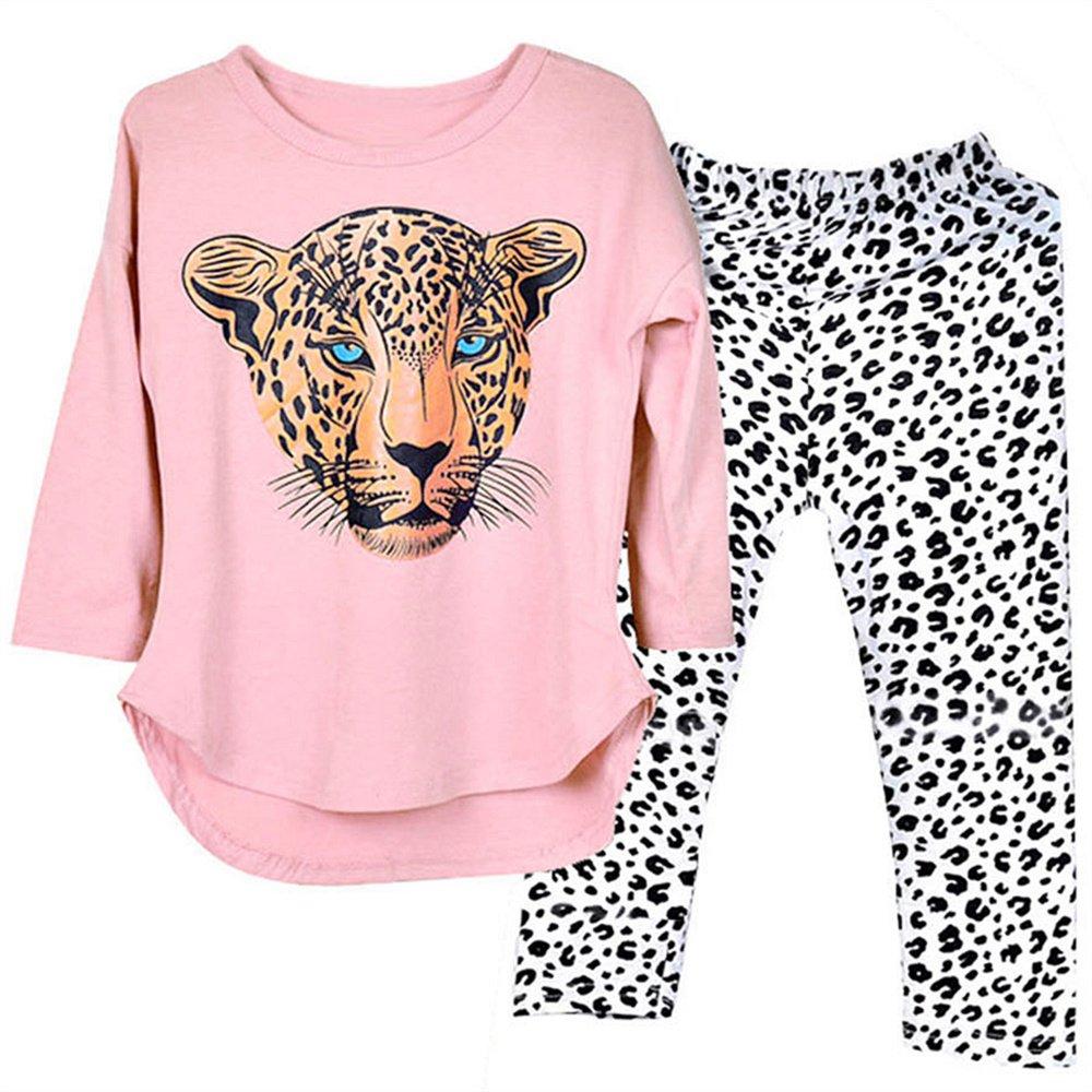 Kidlove Girls Leopard Head Print T-Shirt Pants Clothing Set (3-4Years, Pink)