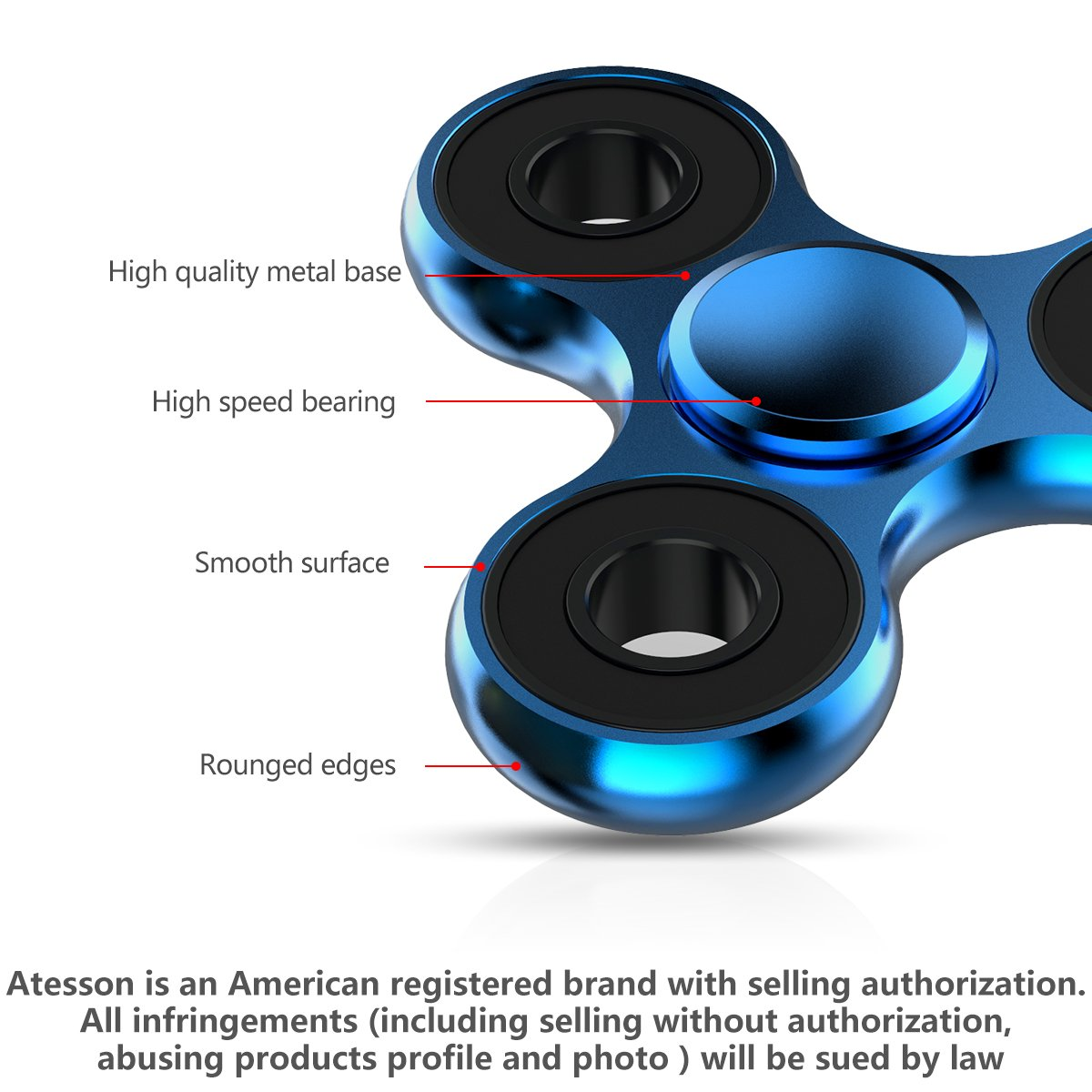 ATESSON Fidget Spinner Toy Ultra Durable Stainless Steel Bearing High Speed 1-5 Min Spins Precision Metal Material EDC ADHD Focus Anxiety Stress Relief Boredom Killing Time Toys