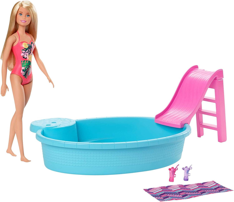 Barbie muñeca rubia de 30 cm con piscina, tobogán y accesorios, regalo para niñas y niños 3-9 años (Mattel GHL91)