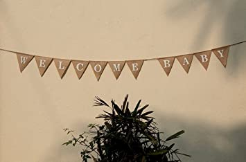 WELCOME BABY Burlap Banner Elegant Baby Shower Banner Pink / Blue Feet  Welcome
