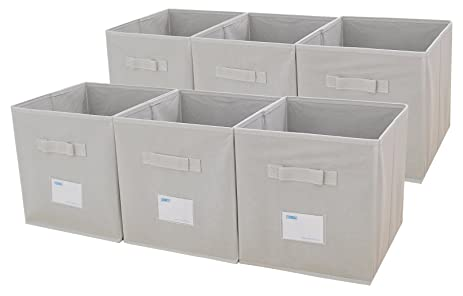 Captivating ESYLIFE Foldable Fabric Storage Cubes 6 Pack Cloth Storage Bins With Label  Holder,Beige