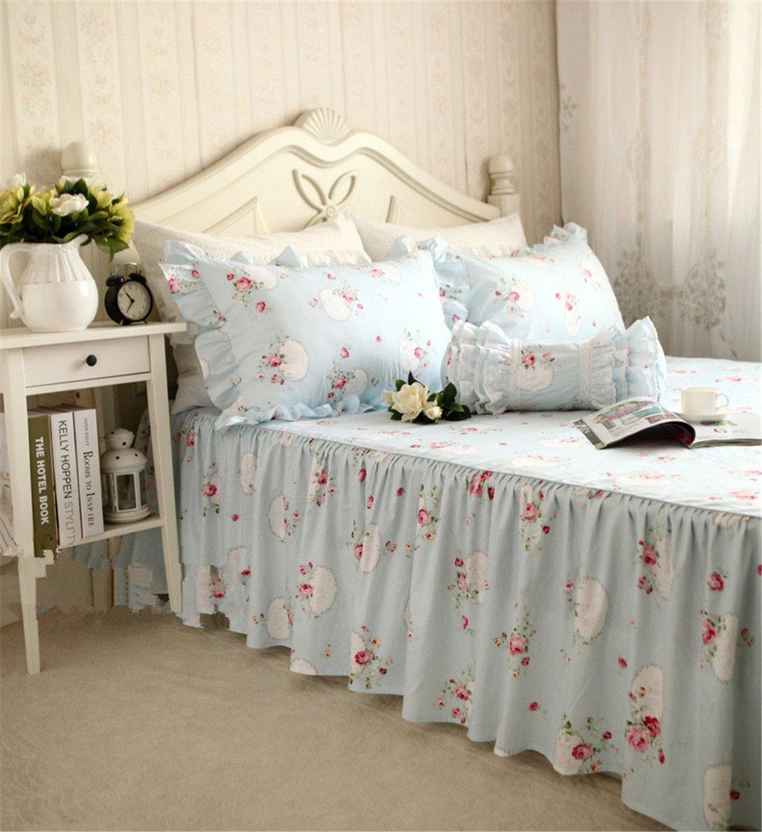 Lotus Karen 100%Cotton Blue Pastoral Flowers 4PC Floral Bed Sheet Set Ruffles Korean Bedding Set With Romantic Love Letters Patterns For Wedding Bedding King,1Duvet Cover,1Bedskirt,2Pillowcases by Lotus Karen (Image #4)