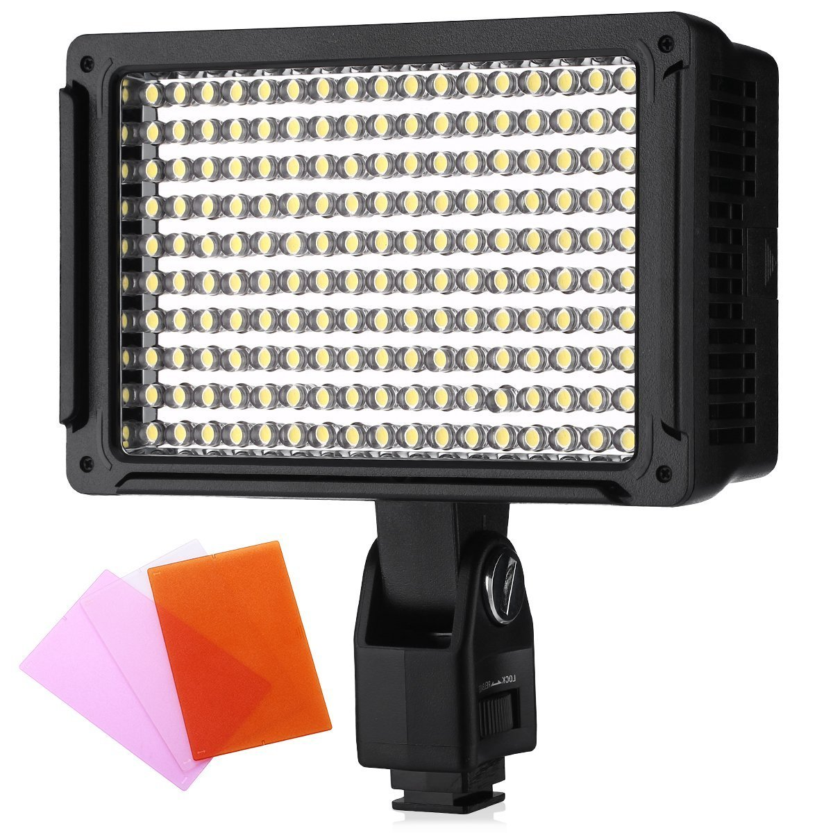 Powerextra 170 LED CRI95 14W Light Panel Dimmable Studio, Camcorder Video Light, Diffuser, 2 Color Filters(Orange and Blue) for Canon Nikon Pentax Samsung Fujifilm Olympus Panasonic DSLR Cameras