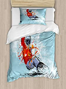 Lunarable Snowboard Duvet Cover Set, Sketchy Colored Hand Drawing Brush Strokes, Decorative 2 Piece Bedding Set with 1 Pillow Sham, Twin Size, Blue Vermilion