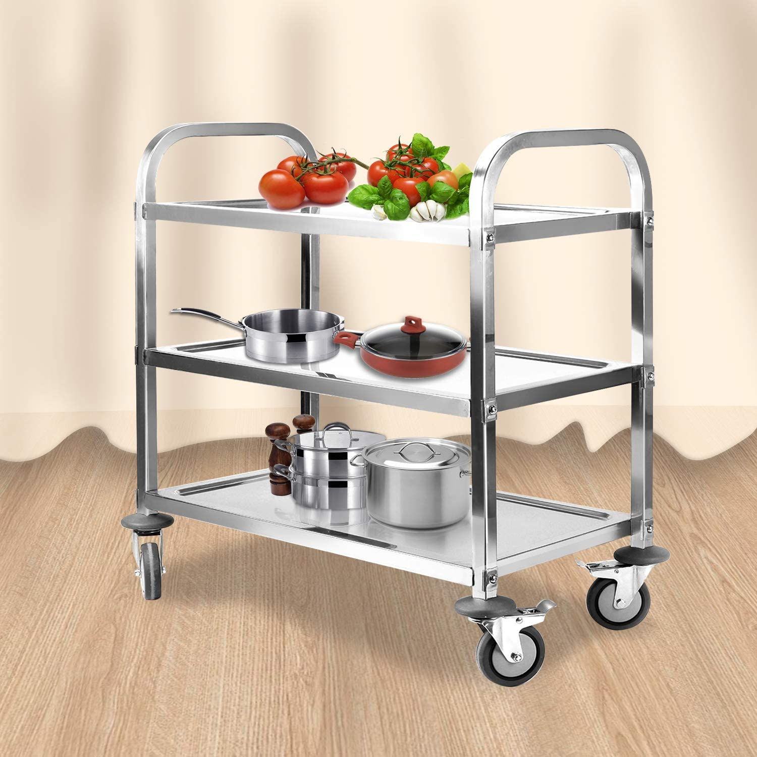 uyoyous Stainless Steel 3-Tier Utility Rolling Cart Kitchen Island Trolley Serving Cart Catering Storage with 2 Locking Wheels for Home Hotel Restaurant Up to 220 lbs Capacity 37.4x19.7x37.4 Inch