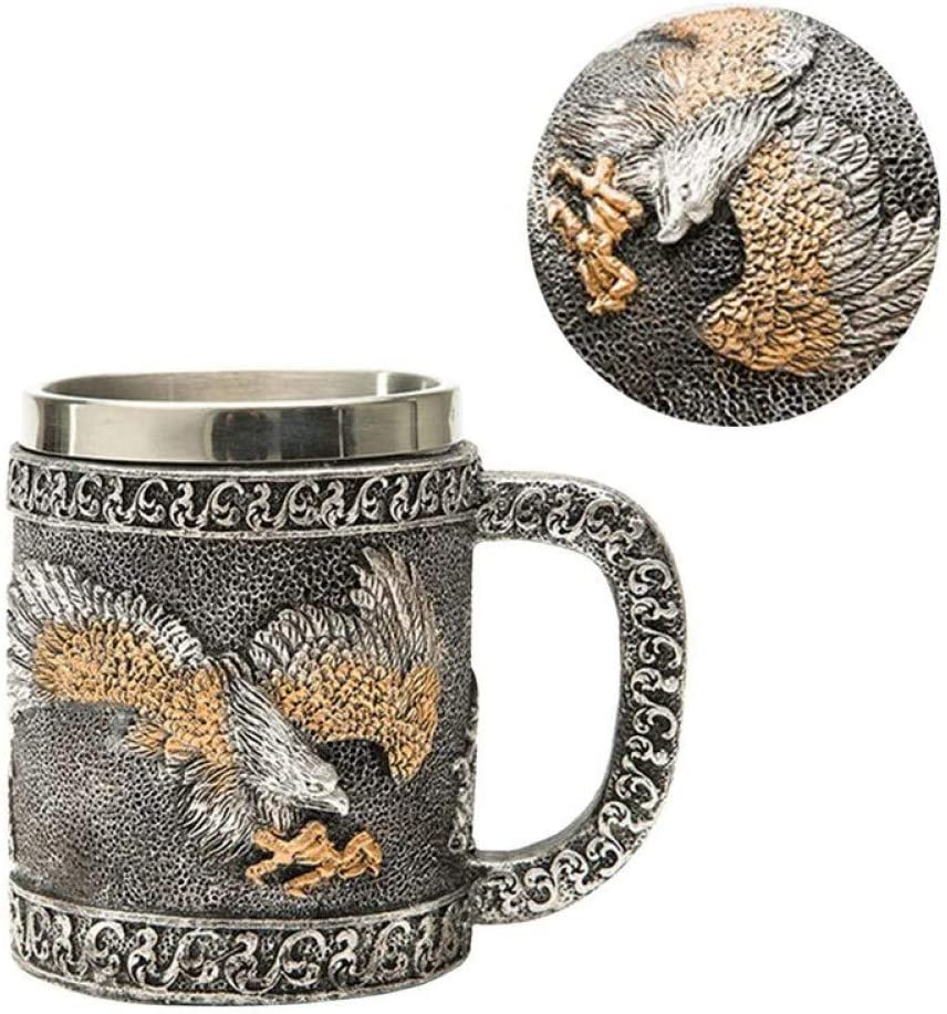 WXHHKNZ 1 Adlerfigur Edelstahlbecher Innen Wasser Tasse Tee Tasse Home Office Tee Kaffeetasse Griff