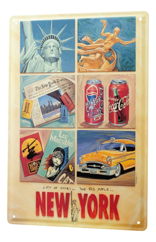 Blechschild Georg Huber Retro US Nostalgie New York City Taxi Deko 20x30 cm