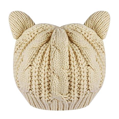 TinkSky Oreilles de chat mignon automne hiver en forme filles de femmes  Crochet tressé Ski tricot 4a02861ba4f