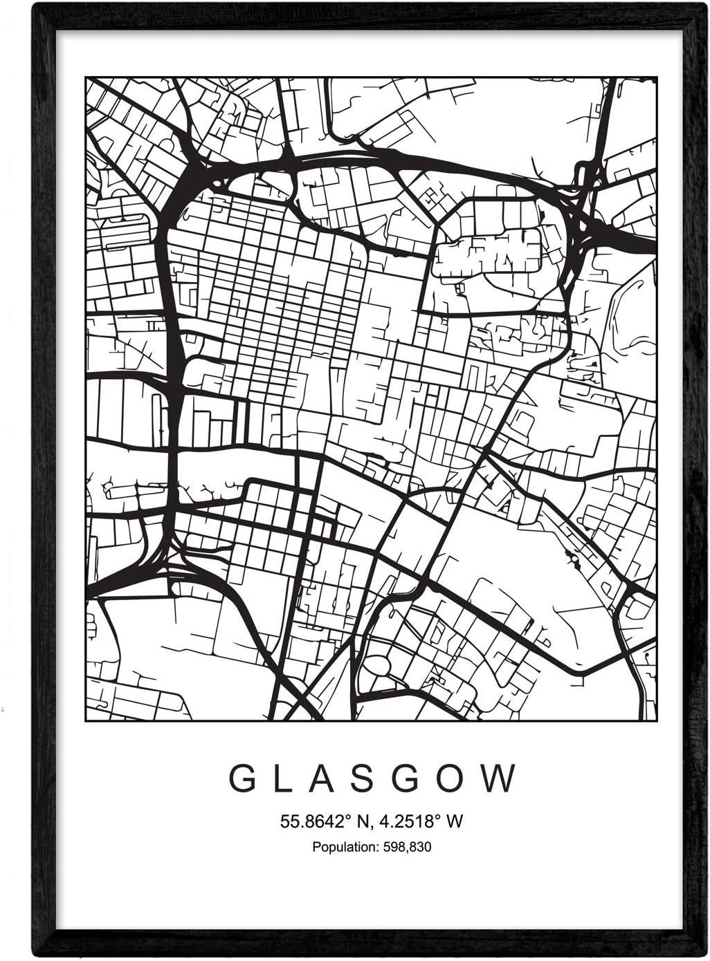 Nacnic Lámina Mapa de la Ciudad Glasgow Estilo nordico en Blanco y ...