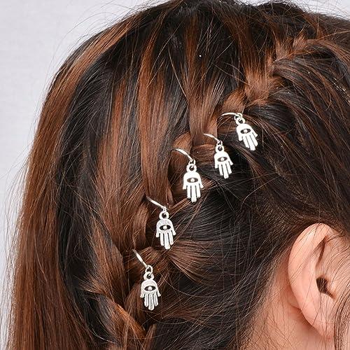 20 Pc Punk Women Hip Hop Braid Hand Cross Shell Leaf Ring Hair Clips  Accessory