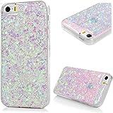 Cover iPhone 5S Silicone, iPhone SE Custodia Morbido TPU Con Glitter Bling Strass di Colore Viola chiaro (Interno) - MAXFE.CO Case Ultra Sottile Gel Cassa Protettiva per iPhone 5 / 5S, iPhone SE