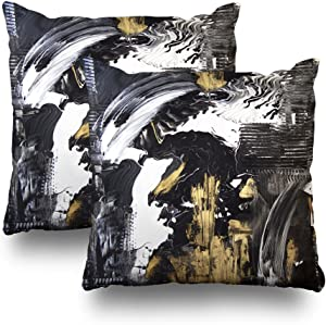 Soopat Black Gold Acrylic Pillowcase 18X18 inch Set of 2 Decorative Throw Pillow Covers Abstract Black and White with Gold Acrylic Painting Canvas Decorative Home Decor Indoor Nice Decorations