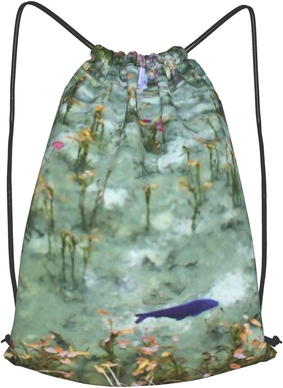 fgjfdjj Estanque de Monet en Gifu, Japón Mochila con cordón Mochila Grande Mochila con cordón Mochila para niños Niñas Adolescentes