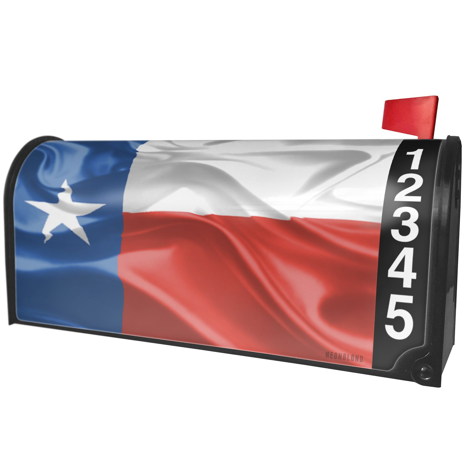 NEONBLOND Texas 3D Flag Region: America (USA) Magnetic Mailbox Cover Custom Numbers by NEONBLOND