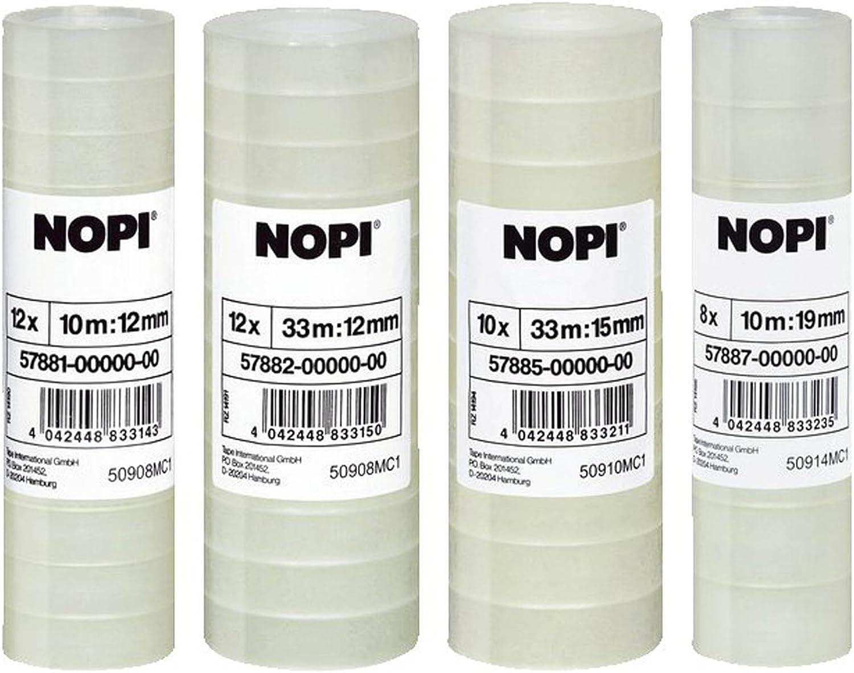 transparent NOPI Klebefilm 10er Vorteilspack // 10 x 10 Rollen = 100 Rollen 10m x 15mm