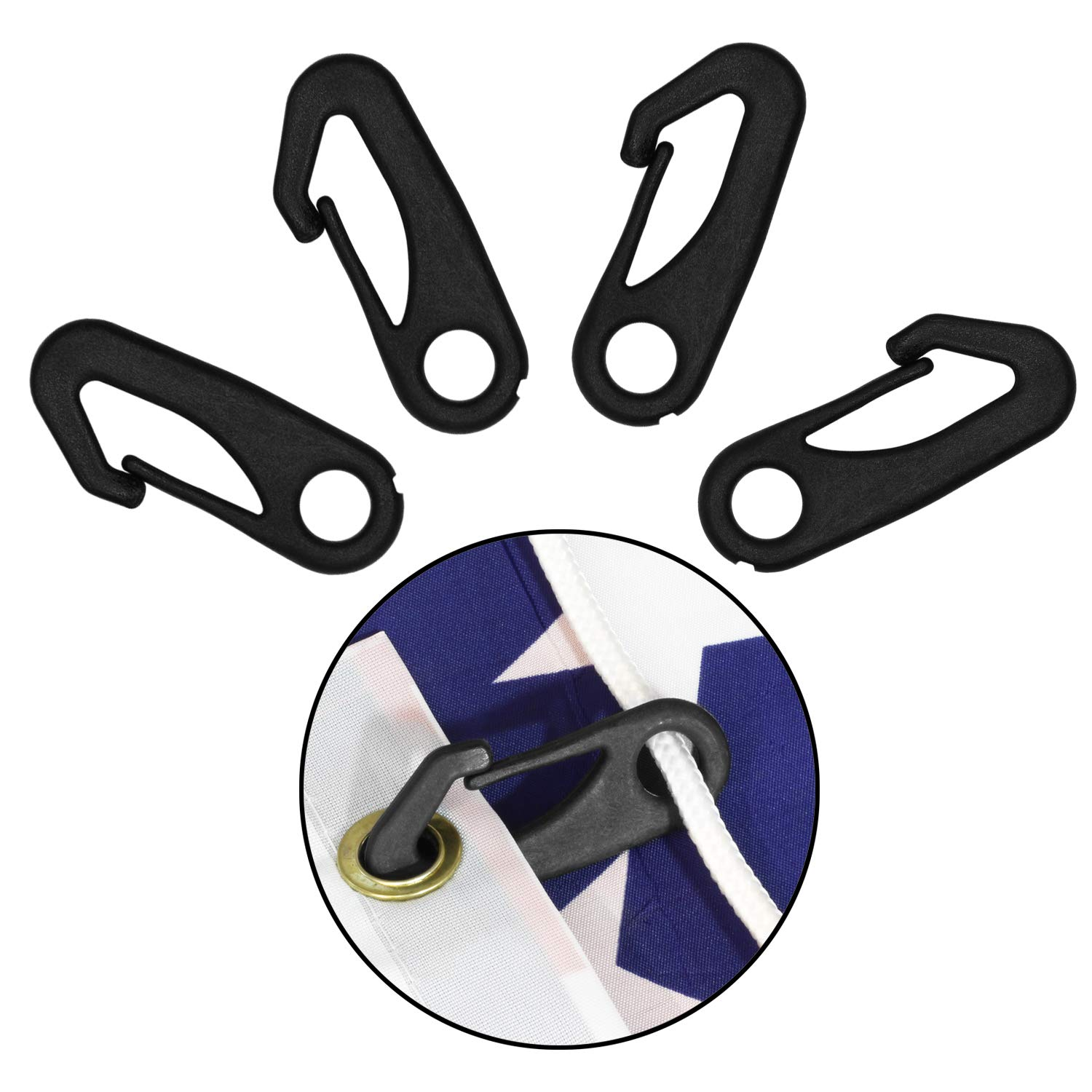 Black Anley 4 PCS Heavy Duty Flagpole Snap Hook Clips Attach Flag Grommets to Halyard Rope Flag Pole Attachment Accessory