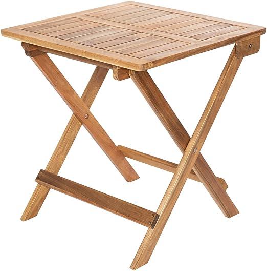 Monster24 - Mesa auxiliar plegable de madera de acacia engrasada, 45 x 45 cm, plegable, para jardín: Amazon.es: Hogar