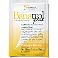 Fast Natural Anti-Diarrhea Medicine Relief Kids, Adults |Banatrol Plus| Banana Flakes and Prebiotic| Pineapple Banana Flavor 21 doses
